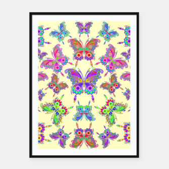 Thumbnail image of Butterfly Colorful Tattoo Style Pattern Framed poster, Live Heroes