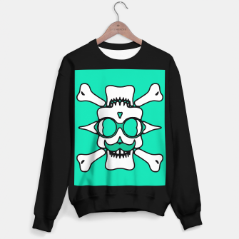 Miniature de image de white skull with glasses and mustache and green background Sweater regular, Live Heroes