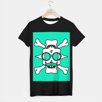 Miniature de image de white skull with glasses and mustache and green background T-shirt regular, Live Heroes