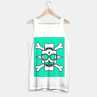 Miniature de image de white skull with glasses and mustache and green background Tank Top regular, Live Heroes
