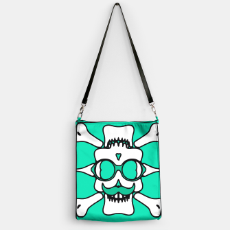 Miniature de image de white skull with glasses and mustache and green background Handbag, Live Heroes