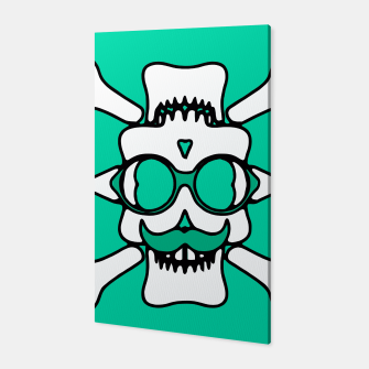 Miniature de image de white skull with glasses and mustache and green background Canvas, Live Heroes