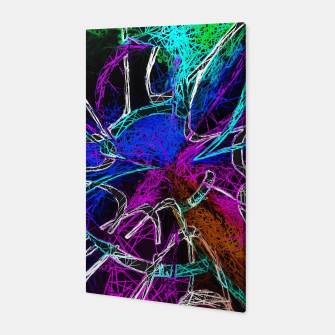 Miniatur psychedelic graffiti geometric splash painting abstract in pink purple blue green brown and black Canvas, Live Heroes