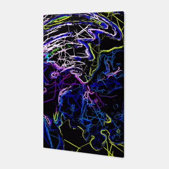 Miniatur psychedelic graffiti geometric drawing abstract in blue pink purple yellow and black Canvas, Live Heroes