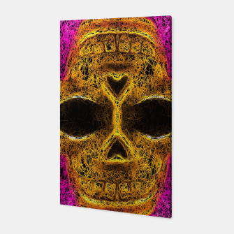 Miniatur psychedelic geometric graffiti painting golden skull head portrait with pink background Canvas, Live Heroes