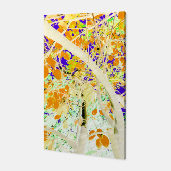 Miniatur drawing tree with orange leaves and purple background Canvas, Live Heroes