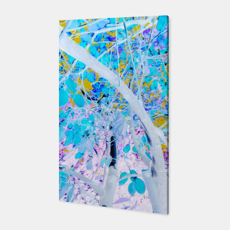Miniatur drawing tree with blue leaves and purple background Canvas, Live Heroes