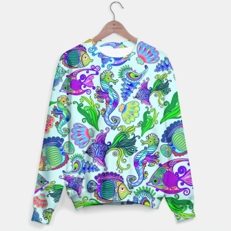 Thumbnail image of Marine Life Exotic Fishes & SeaHorses Sweater, Live Heroes
