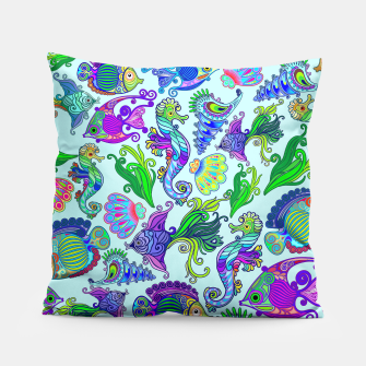 Marine Life Exotic Fishes & SeaHorses Pillow thumbnail image