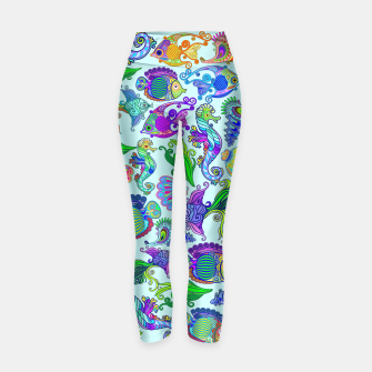Thumbnail image of Marine Life Exotic Fishes & SeaHorses Yoga Pants, Live Heroes