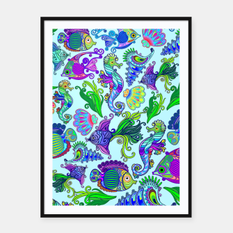Thumbnail image of Marine Life Exotic Fishes & SeaHorses Framed poster, Live Heroes
