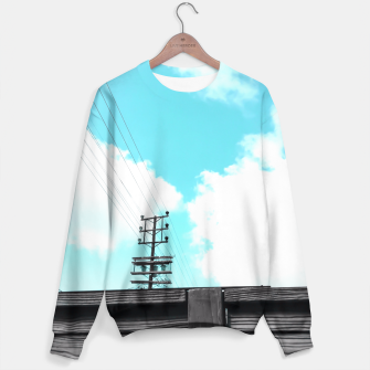 Thumbnail image of electric pole with wooden wall and cloudy blue sky in summer Sweater, Live Heroes