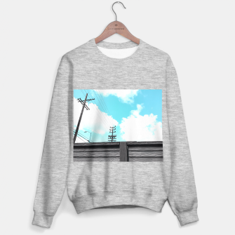 Thumbnail image of electric pole with wooden wall and cloudy blue sky in summer Sweater regular, Live Heroes