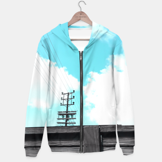 Thumbnail image of electric pole with wooden wall and cloudy blue sky in summer Hoodie, Live Heroes
