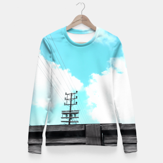 Thumbnail image of electric pole with wooden wall and cloudy blue sky in summer Fitted Waist Sweater, Live Heroes