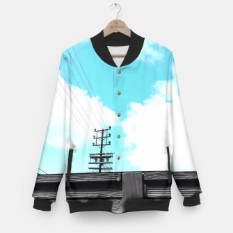 Thumbnail image of electric pole with wooden wall and cloudy blue sky in summer Baseball Jacket, Live Heroes
