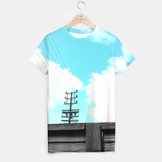 Thumbnail image of electric pole with wooden wall and cloudy blue sky in summer T-shirt, Live Heroes
