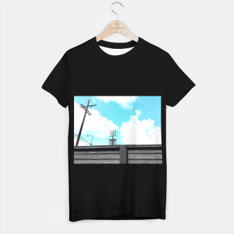 Thumbnail image of electric pole with wooden wall and cloudy blue sky in summer T-shirt regular, Live Heroes