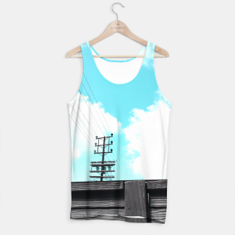 Thumbnail image of electric pole with wooden wall and cloudy blue sky in summer Tank Top, Live Heroes