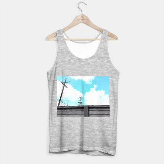 Thumbnail image of electric pole with wooden wall and cloudy blue sky in summer Tank Top regular, Live Heroes