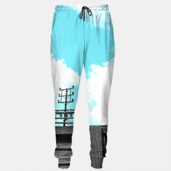 Thumbnail image of electric pole with wooden wall and cloudy blue sky in summer Sweatpants, Live Heroes