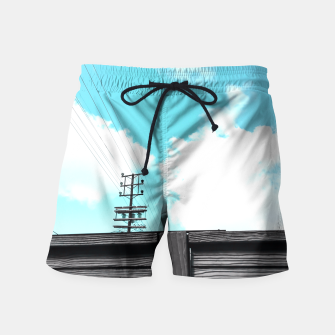 Thumbnail image of electric pole with wooden wall and cloudy blue sky in summer Swim Shorts, Live Heroes