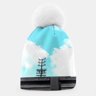 Thumbnail image of electric pole with wooden wall and cloudy blue sky in summer Beanie, Live Heroes