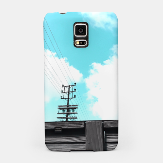 Thumbnail image of electric pole with wooden wall and cloudy blue sky in summer Samsung Case, Live Heroes