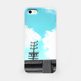 Thumbnail image of electric pole with wooden wall and cloudy blue sky in summer iPhone Case, Live Heroes