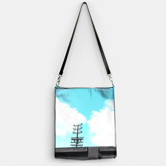 Thumbnail image of electric pole with wooden wall and cloudy blue sky in summer Handbag, Live Heroes