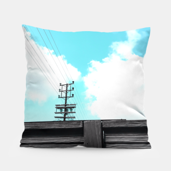 Thumbnail image of electric pole with wooden wall and cloudy blue sky in summer Pillow, Live Heroes