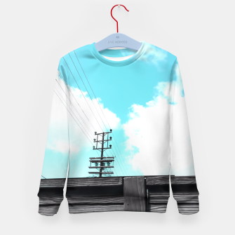 Thumbnail image of electric pole with wooden wall and cloudy blue sky in summer Kid's Sweater, Live Heroes