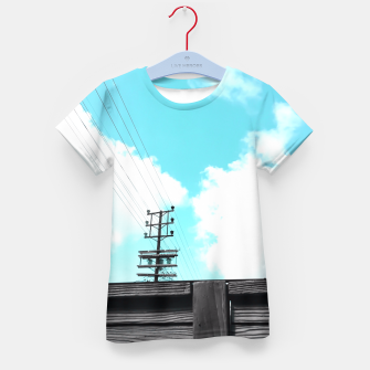 Thumbnail image of electric pole with wooden wall and cloudy blue sky in summer Kid's T-shirt, Live Heroes