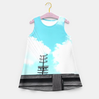 Thumbnail image of electric pole with wooden wall and cloudy blue sky in summer Girl's Summer Dress, Live Heroes