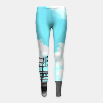 Thumbnail image of electric pole with wooden wall and cloudy blue sky in summer Girl's Leggings, Live Heroes
