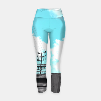 Thumbnail image of electric pole with wooden wall and cloudy blue sky in summer Yoga Pants, Live Heroes