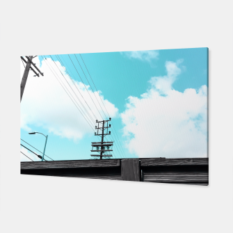 Thumbnail image of electric pole with wooden wall and cloudy blue sky in summer Canvas, Live Heroes