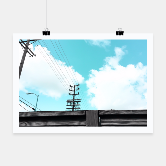 Thumbnail image of electric pole with wooden wall and cloudy blue sky in summer Poster, Live Heroes