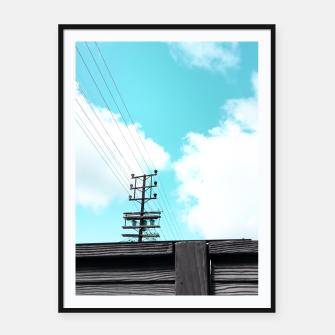Thumbnail image of electric pole with wooden wall and cloudy blue sky in summer Framed poster, Live Heroes
