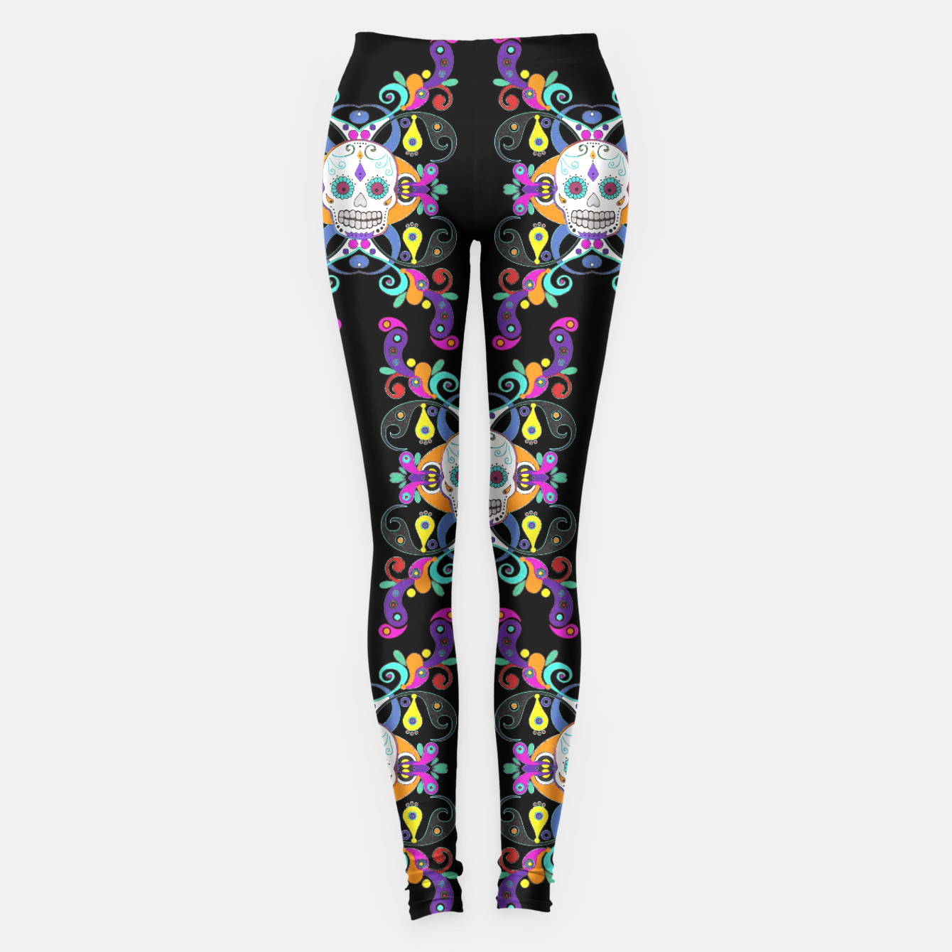 Foto Día De Los Muertos Skulls Ornaments Pattern multicolored Leggings - Live Heroes