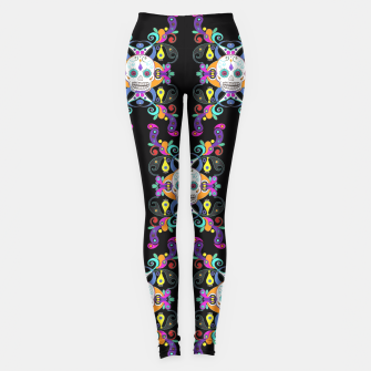 Miniatur Día De Los Muertos Skulls Ornaments Pattern multicolored Leggings, Live Heroes