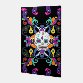 Miniatur Día De Los Muertos Skulls Ornaments Pattern multicolored Canvas, Live Heroes