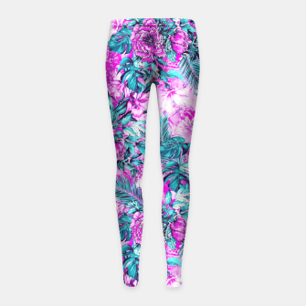 Thumbnail image of Tropical Garden Pink Girl's Leggings, Live Heroes
