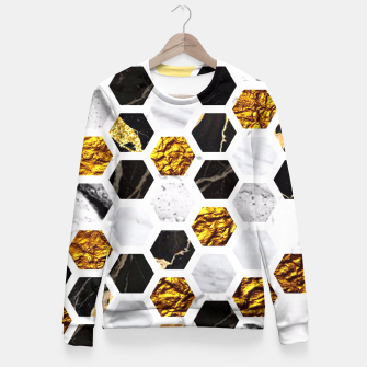 Thumbnail image of Marble, Gold Leaf Honey Comb Pattern Fitted Waist Sweater, Live Heroes