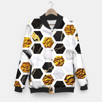 Thumbnail image of Marble, Gold Leaf Honey Comb Pattern Baseball Jacket, Live Heroes