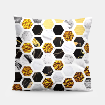 Thumbnail image of Marble, Gold Leaf Honey Comb Pattern Pillow, Live Heroes
