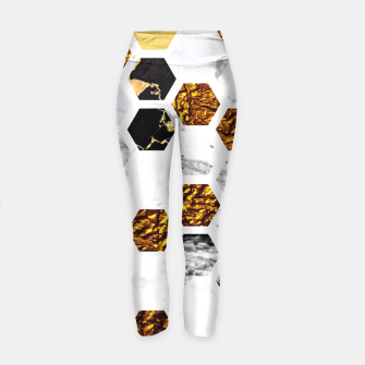 Thumbnail image of Marble, Gold Leaf Honey Comb Pattern Yoga Pants, Live Heroes