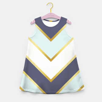 Thumbnail image of Golden chevron and blue Girl's Summer Dress, Live Heroes
