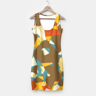 Thumbnail image of geometric graffiti drawing and painting abstract in brown yellow blue and orange Simple Dress, Live Heroes