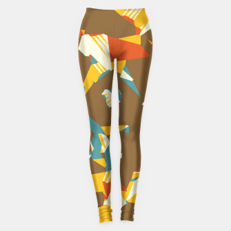 Thumbnail image of geometric graffiti drawing and painting abstract in brown yellow blue and orange Leggings, Live Heroes
